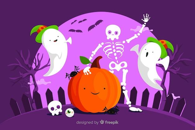Flat design halloween background