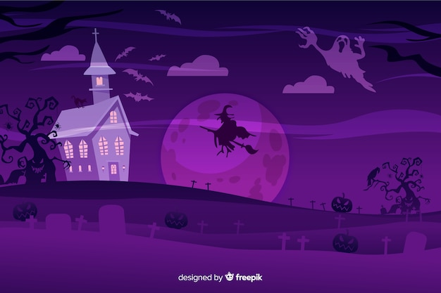 Flat design of  halloween background