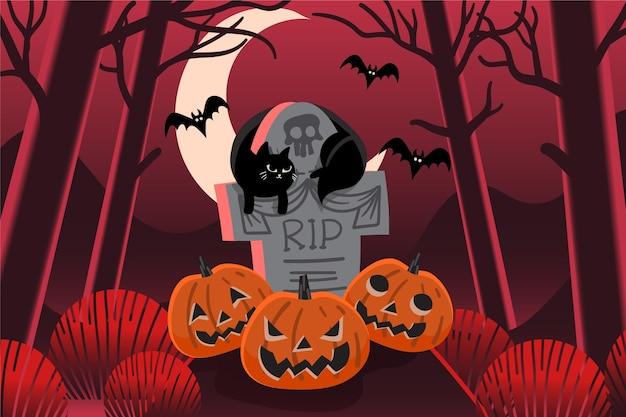 Design piatto sfondo di halloween