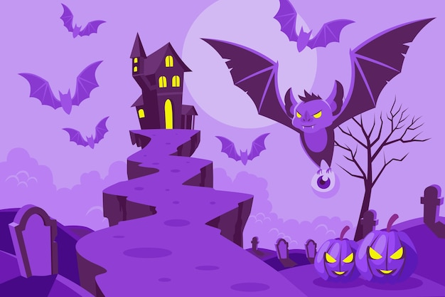 Flat design halloween background