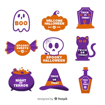 Flat design halloween badge collection