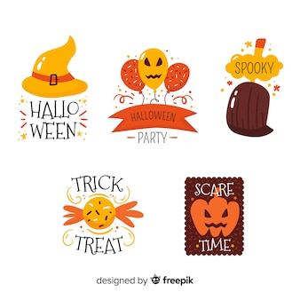 Flat design of halloween badge collection