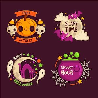 Плоский дизайн хэллоуин значок коллекции