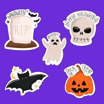 Flat design halloween badge collection