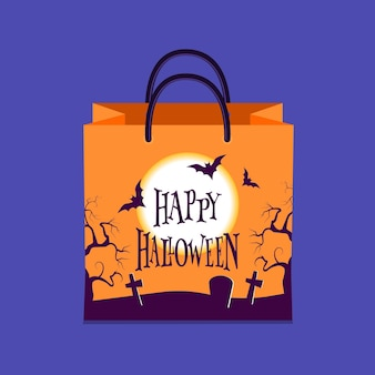 Плоский дизайн сумки на хэллоуин