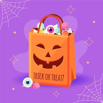 Плоский дизайн хэллоуин сумка с тыквой