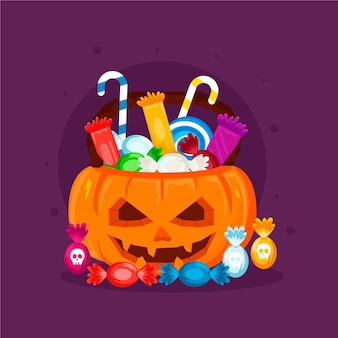 Flat design halloween bag