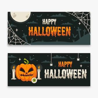 Flat design halloween banner collection
