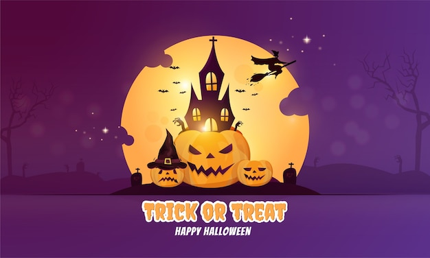 Flat design halloween banner or party invitation concept