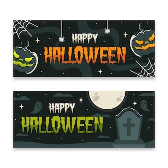 Flat design halloween banner set