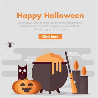 Flat design halloween banner