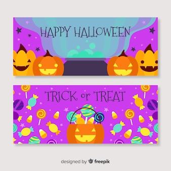 Flat design halloween banners template