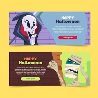 Плоский дизайн хэллоуина баннеры шаблон