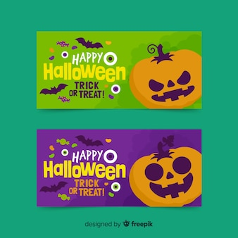 Flat design of halloween banners with pumpkins