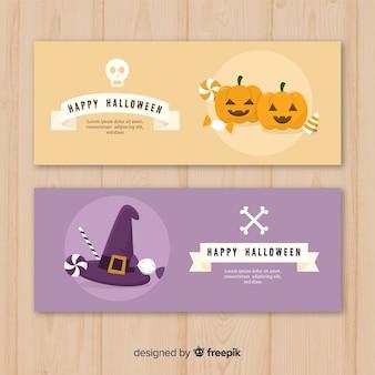 Flat design of halloween banners