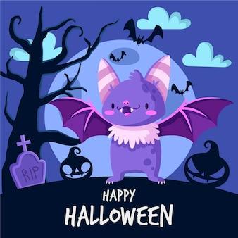 Pipistrello di halloween design piatto nel cimitero