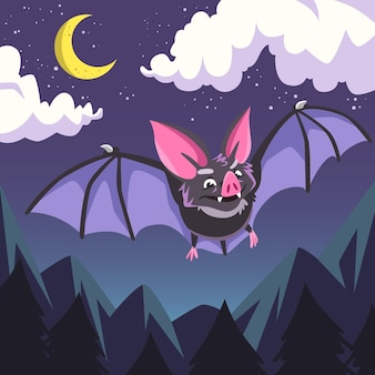 Flat design halloween bat concept