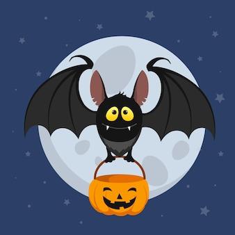 Flat design halloween bat holding bag