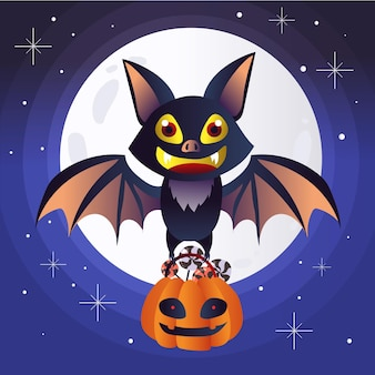 Flat design halloween bat with candy