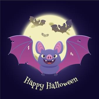 Flat design halloween bat with moon