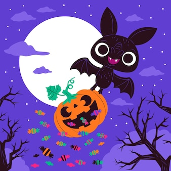Pipistrello di halloween design piatto con dolci