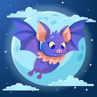 Flat design halloween bat