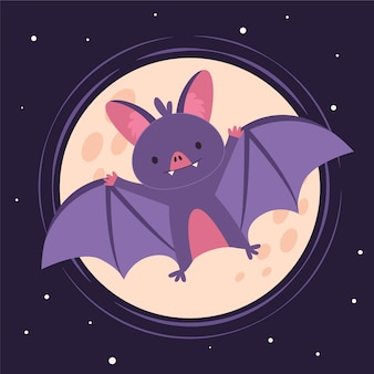 Flat design halloween bat