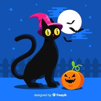 Flat design of halloween black cat