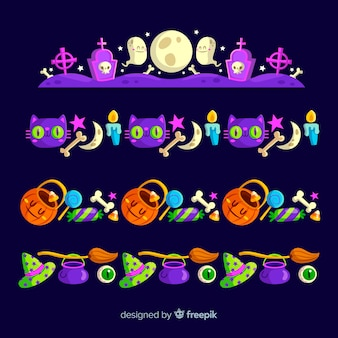 Flat design of halloween border collection
