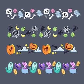 Collezione di bordi di halloween design piatto