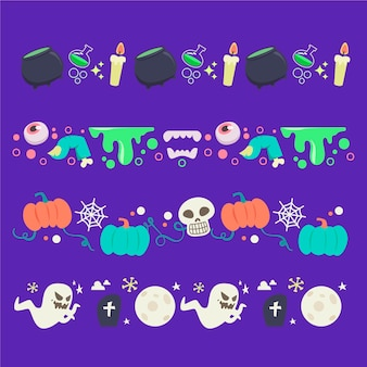 Flat design halloween border collection