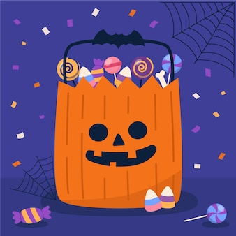 Flat design halloween candy bag