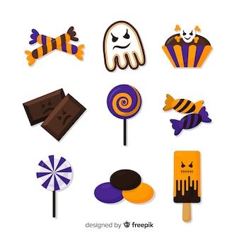 Flat design halloween candy collection