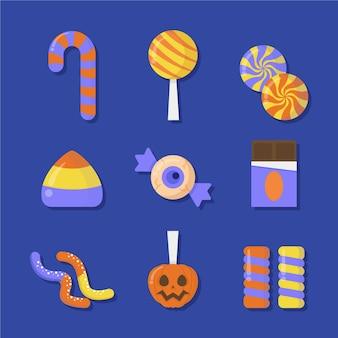 フラットなデザインのハロウィーンのキャンディコレクション