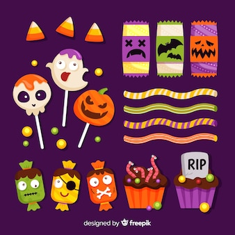Flat design of halloween candy collection