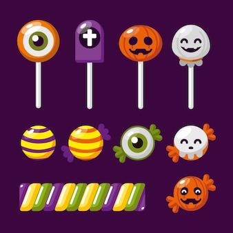 Набор конфет на хэллоуин в плоском дизайне