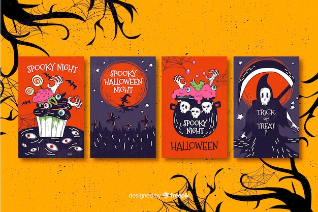 Flat design halloween card collection