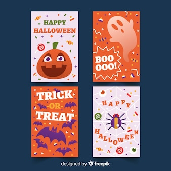 Flat design of halloween card collection
