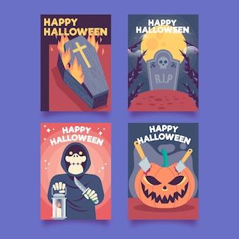 Flat design halloween card collection