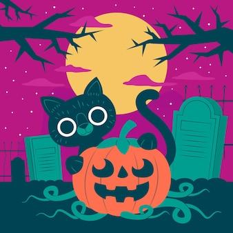 Плоский дизайн хэллоуин кошка на кладбище