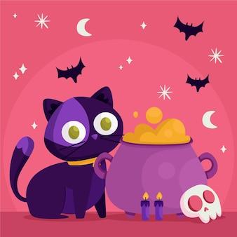 Gatto di halloween design piatto con calderone