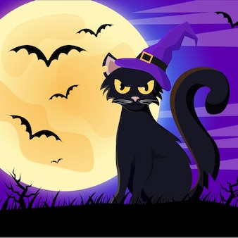Gatto di halloween design piatto con cappello