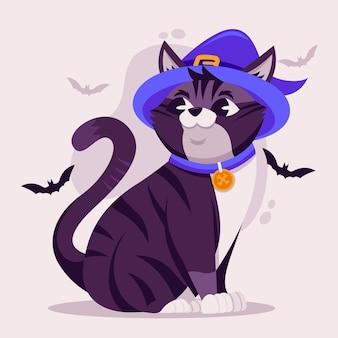 Gatto di halloween design piatto con cappello