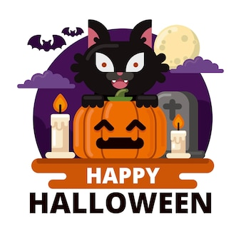 Flat design halloween cat with pumpkin