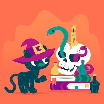 Flat design halloween cat with skull