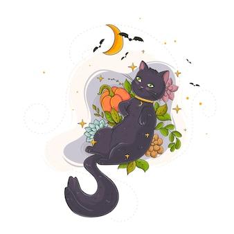 フラットデザインのハロウィン猫