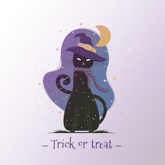Flat design halloween cat