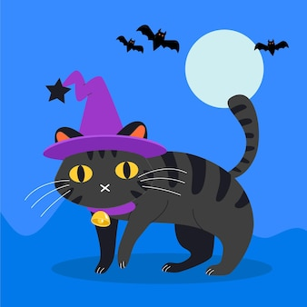Flat design halloween cat