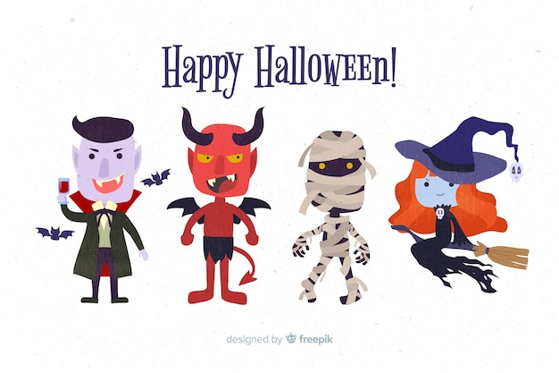 Flat design halloween character collection