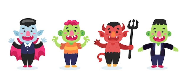Плоский дизайн коллекции персонажей хэллоуина